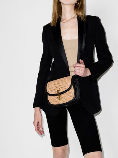 black Kaia raffia shoulder bag