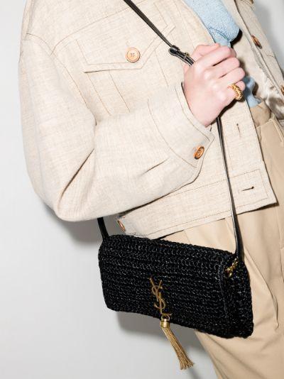 black Kate 99 raffia tassel shoulder bag