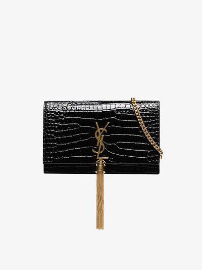 Black Kate small mock croc leather shoulder bag