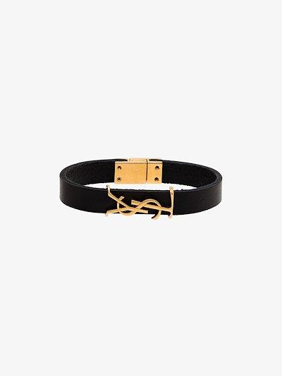 black logo leather bracelet