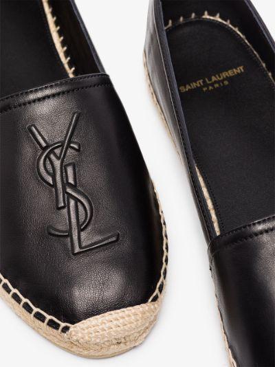 black logo leather flat espadrilles