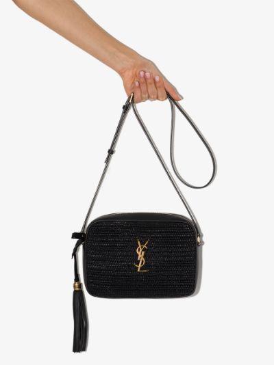 black Lou raffia leather camera bag