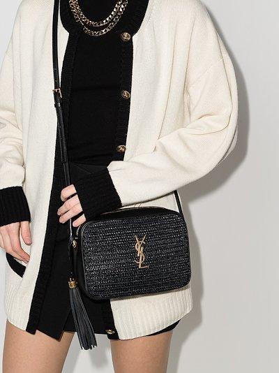 black Lou raffia leather cross body bag