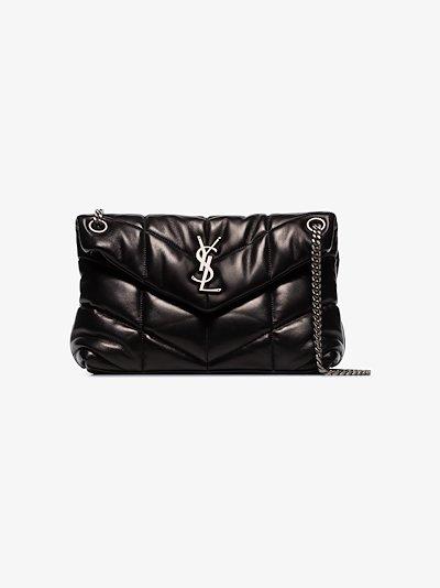 black Loulou puffer leather shoulder bag