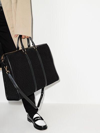 black monogram embossed leather tote bag