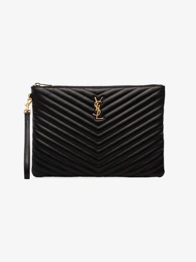 black monogram matelassé leather clutch bag