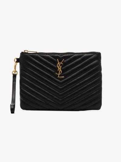 black monogram matelassé leather pouch
