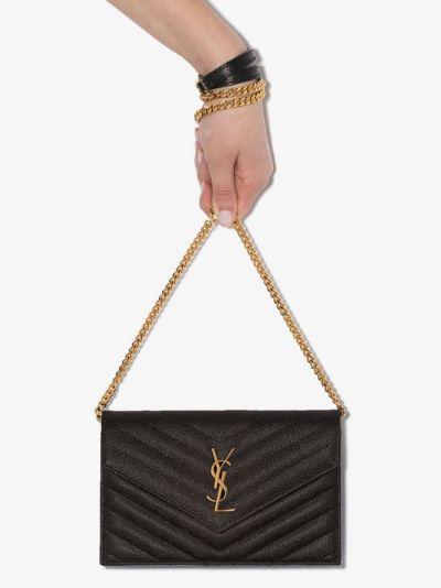 black monogram quilted leather shoulder bag