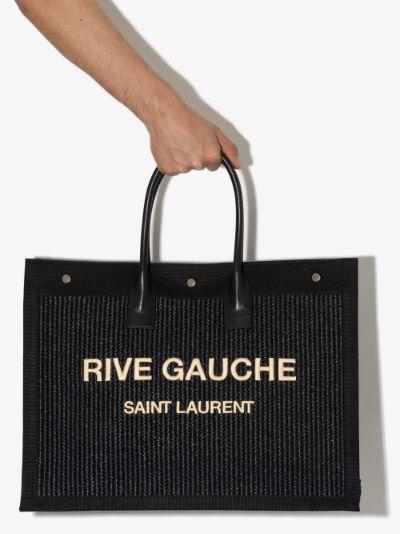 Black Rive Gauche Large Raffia Tote Bag