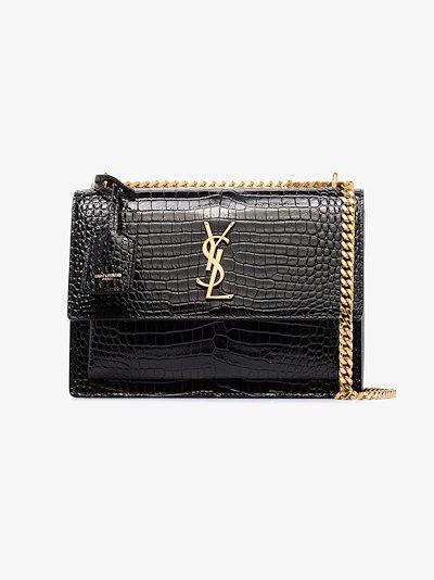 black Sunset mock croc leather shoulder bag