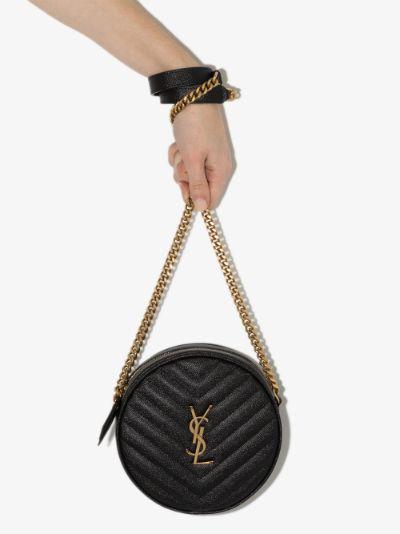 black Vinyle round leather cross body bag