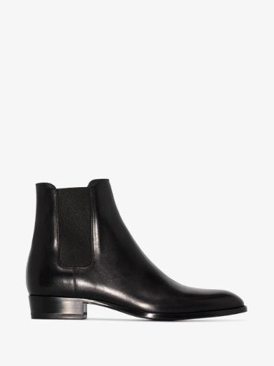 Black Wyatt 30 leather Chelsea boots