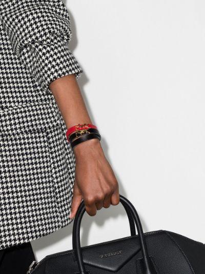 black YSL logo leather bracelet