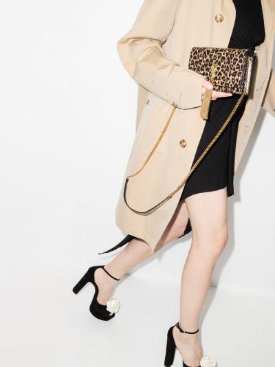 Brown Kate Small Leopard Print Leather Shoulder Bag