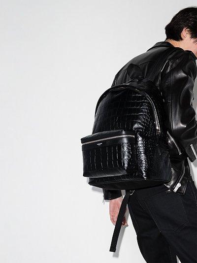 City crocodile-effect backpack