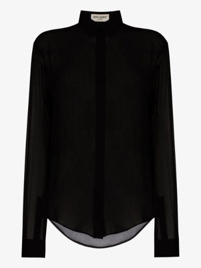 Collared sheer silk shirt