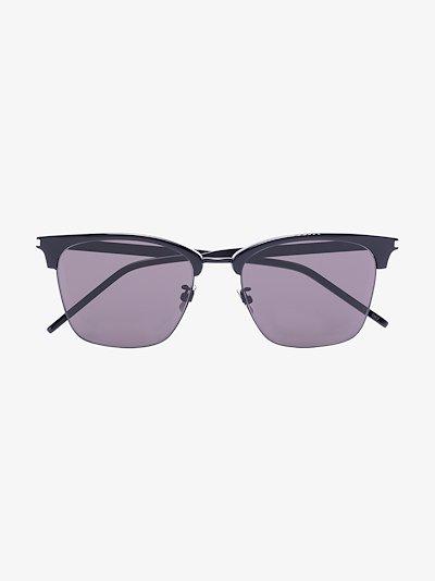 black 340 half rim square sunglasses