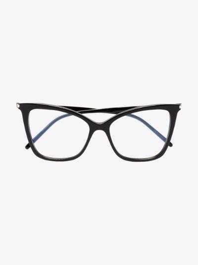 black 386 cat eye optical glasses