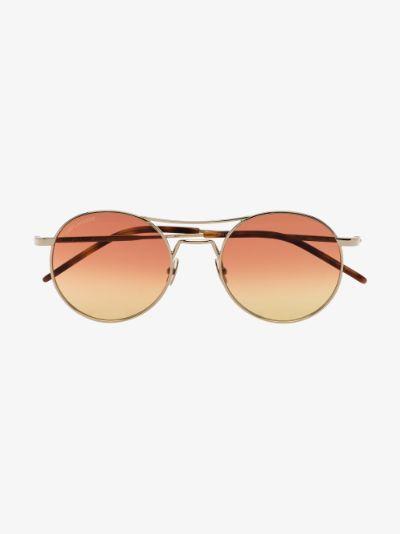 gold tone round frame sunglasses
