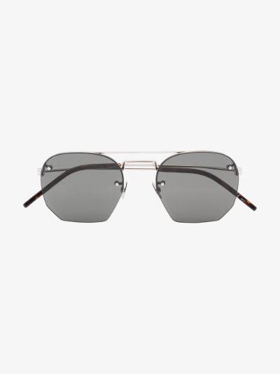 silver tone Square frame sunglasses