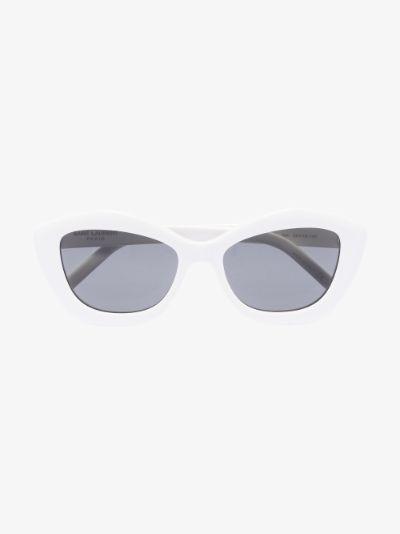 White SL 68 Cat Eye Sunglasses