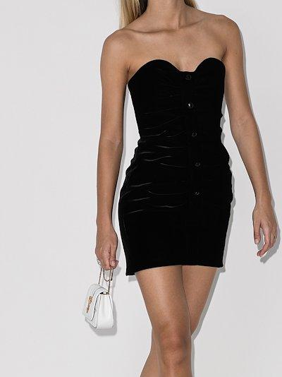 gathered bustier mini dress