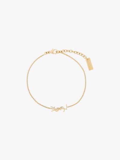 Gold Tone Logo Charm Bracelet