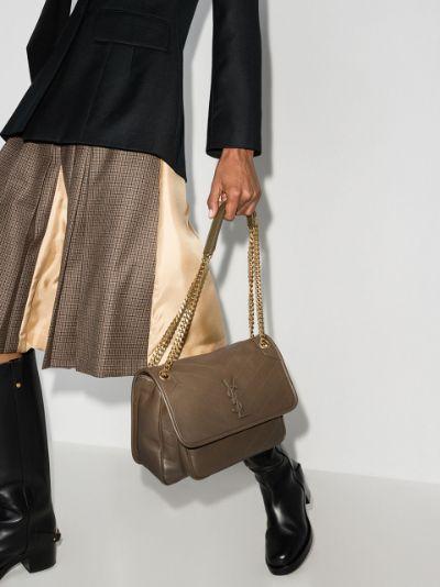 green Niki medium leather shoulder bag