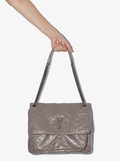 grey large Nikki leather shoulder bag