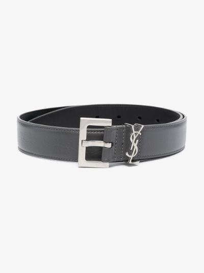 grey monogram square buckle belt