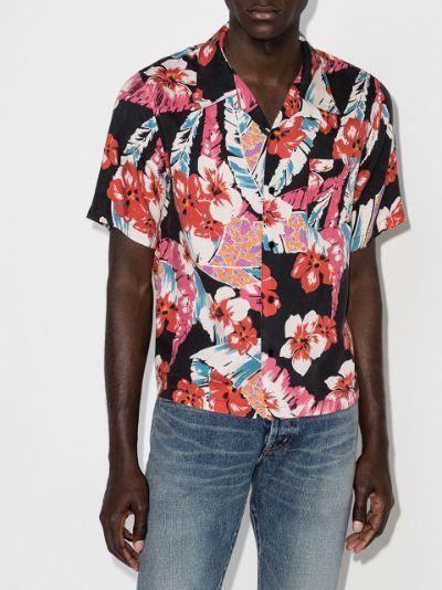 Hawaiian print short-sleeve shirt
