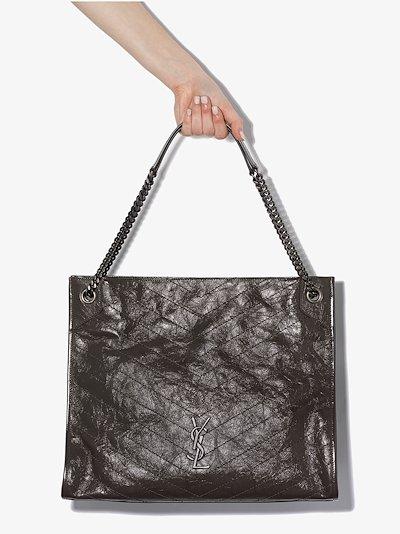 khaki Niki large leather tote bag