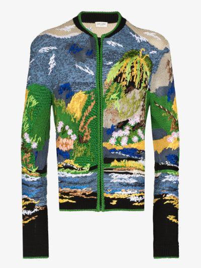 landscape intarsia zip cardigan