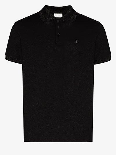 metallic pique polo shirt