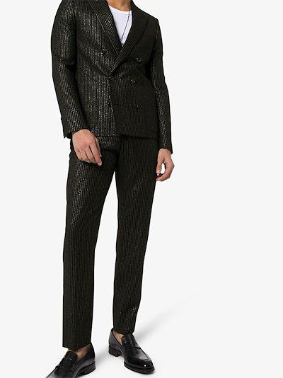 metallic stripe tailored trousers