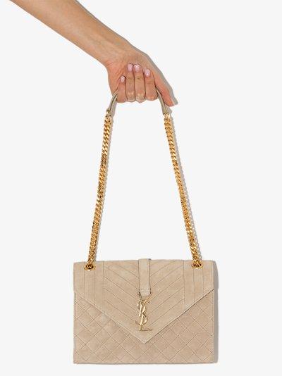 Neutral Envelope Medium Suede Shoulder Bag