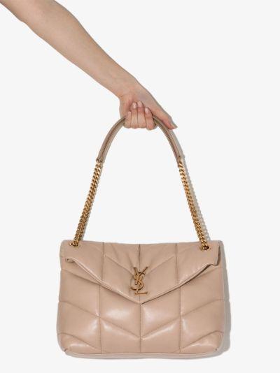neutral Loulou Medium leather shoulder bag