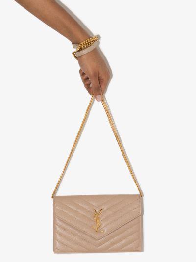 neutral monogram leather cross body bag