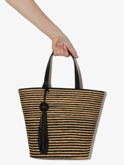 Neutral Panier Striped Raffia Tote Bag