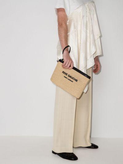 neutral Rive Gauche raffia clutch bag