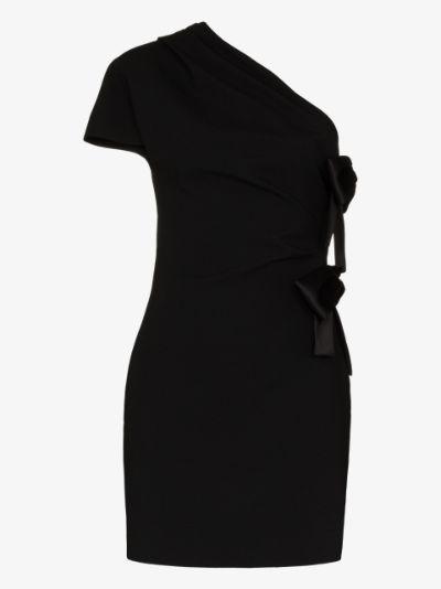 one shoulder bow mini dress