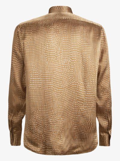 pointilism print silk shirt