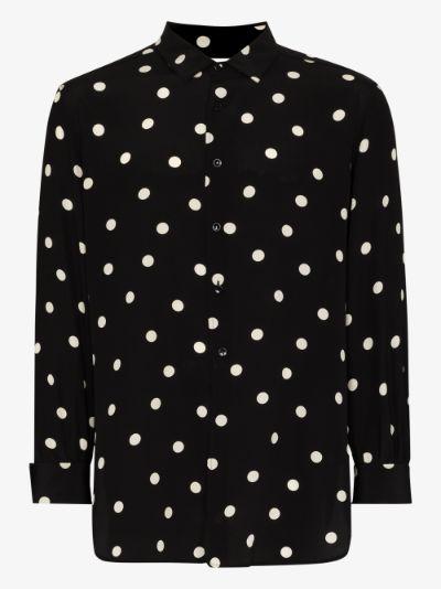 polka dot print silk shirt
