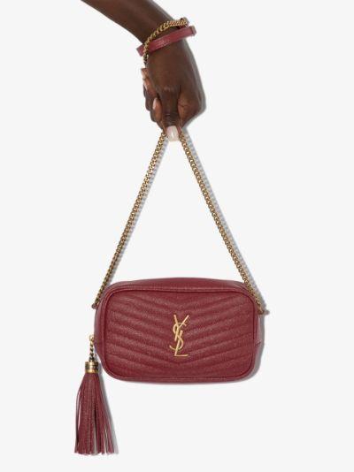 red Lou mini leather camera bag
