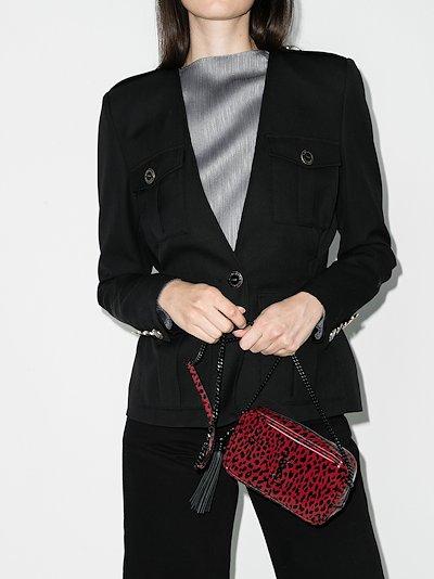red Lou mini leopard print camera bag
