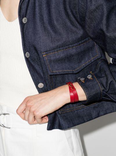 Red YSL Logo Leather Bracelet