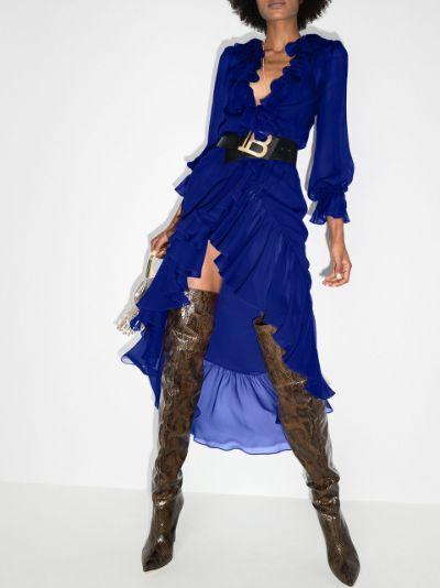 semi-sheer ruffled silk midi dress