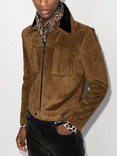 shearling collar suede jacket