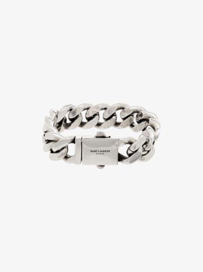silver tone curb chain bracelet