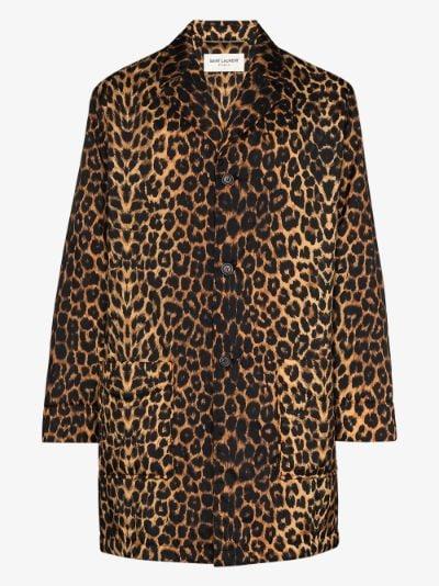 single-breasted leopard print coat